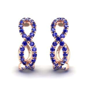 Pave Twist Blue Sapphire Hoop Earrings (1.65 Carat)