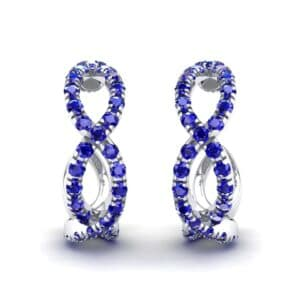 Pave Twist Blue Sapphire Hoop Earrings (1.65 Carat)