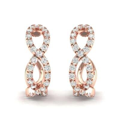 Pave Twist Diamond Hoop Earrings (1.13 CTW) Perspective View