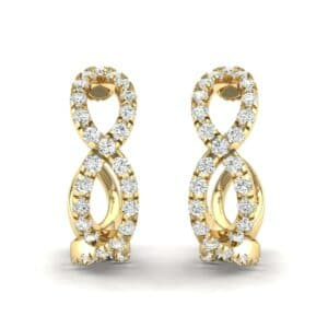 Pave Twist Diamond Hoop Earrings (1.13 Carat)