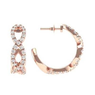 Pave Twist Diamond Hoop Earrings (1.13 CTW) Top Dynamic View