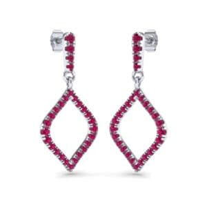 Pave Rhombus Ruby Drop Earrings (0.84 Carat)