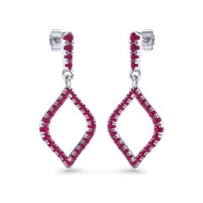Pave Rhombus Ruby Drop Earrings (0.84 Carat)
