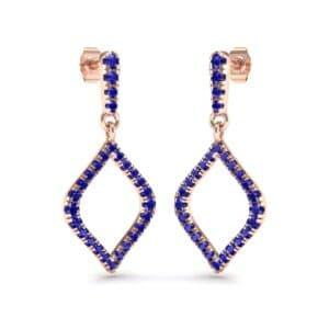 Pave Rhombus Blue Sapphire Drop Earrings (0.84 Carat)