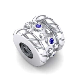 Grooved Tyre Blue Sapphire Bead (0.08 Carat)