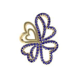 Clover Hearts Blue Sapphire Pendant (0.97 Carat)