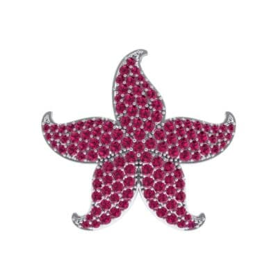 Pointed Flower Pave Ruby Pendant (2.56 Carat)