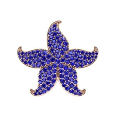 Pointed Flower Pave Blue Sapphire Pendant (2.56 Carat)