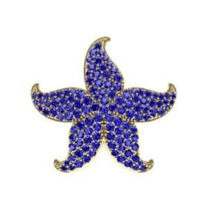 Pointed Flower Pave Blue Sapphire Pendant (2.56 Carat)
