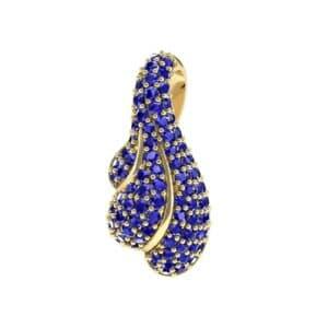 Pave Shell Blue Sapphire Pendant (0.91 Carat)