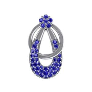Double Hoop Blue Sapphire Pendant (0.56 Carat)