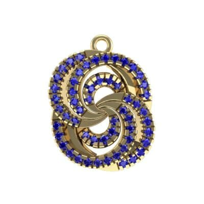 Micro-Pave Blue Sapphire Whirl Pendant (0.65 Carat)