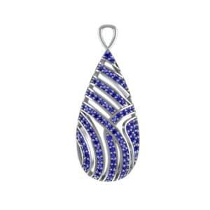 Teardrop Swirl Blue Sapphire Pendant (0.92 Carat)