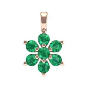 Flower Emerald Cluster Pendant (0.59 Carat)