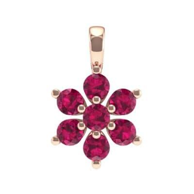 Flower Ruby Cluster Pendant (0.59 Carat)