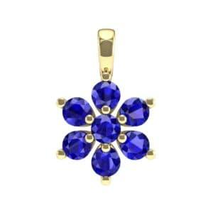 Flower Blue Sapphire Cluster Pendant (0.59 Carat)