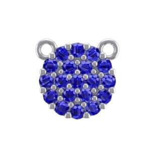 Pave Circle Blue Sapphire Pendant (0.38 Carat)