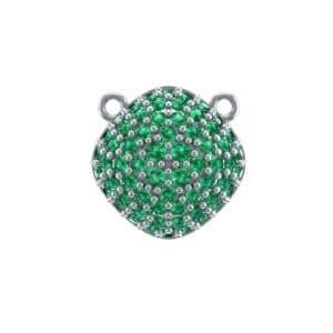 Pave Tilted Cushion Emerald Pendant (0.9 Carat)