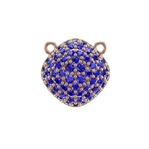 Pave Tilted Cushion Blue Sapphire Pendant (0.9 Carat)
