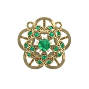 Cut Out Flower Emerald Pendant (0.49 Carat)