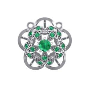 Cut Out Flower Emerald Pendant (0.49 Carat)