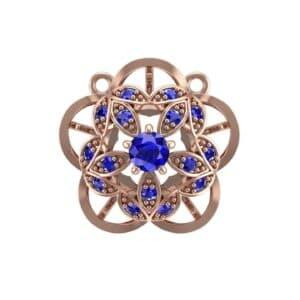 Cut Out Flower Blue Sapphire Pendant (0.49 Carat)