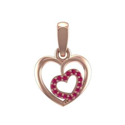 Nested Heart Ruby Pendant (0.15 Carat)