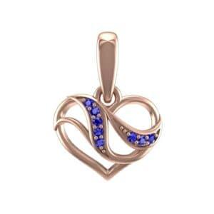 Flowing Heart Blue Sapphire Pendant (0.09 Carat)
