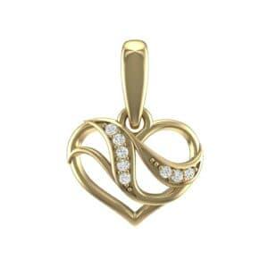 Flowing Heart Diamond Pendant (0.07 Carat)
