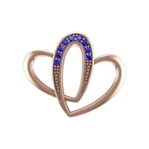 Interlocking Heart Blue Sapphire Pendant (0.1 Carat)