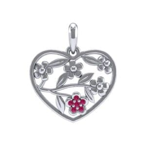Floral Heart Ruby Pendant (0.07 Carat)