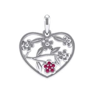 Floral Heart Ruby Pendant (0.07 Carat)