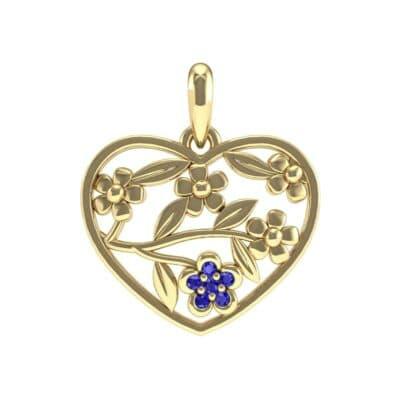 Floral Heart Blue Sapphire Pendant (0.07 Carat)