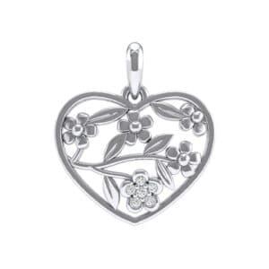 Floral Heart Diamond Pendant (0.05 Carat)