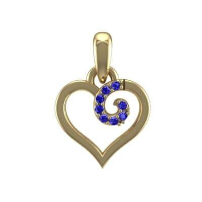 Swirl Heart Blue Sapphire Pendant (0.05 Carat)