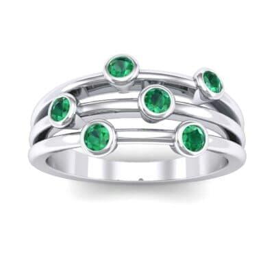 Bezel-Set Trio Emerald Ring (0.58 Carat)