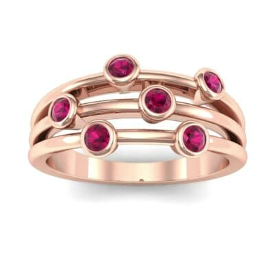 Bezel-Set Trio Ruby Ring (0.58 Carat)
