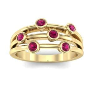Bezel-Set Trio Ruby Ring (0.58 Carat)