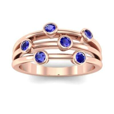 Bezel-Set Trio Blue Sapphire Ring (0.58 Carat)