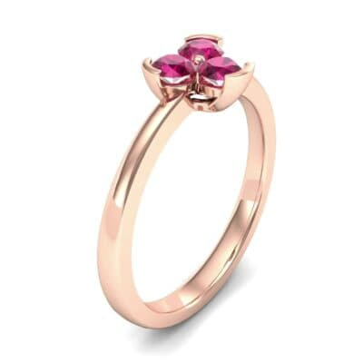 Three-Stone Flower Ruby Engagement Ring (0.48 Carat)