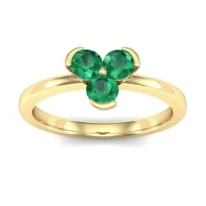 Three-Stone Flower Emerald Engagement Ring (0.48 Carat)
