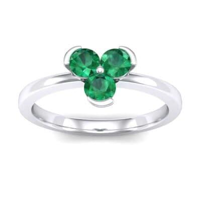 Three-Stone Flower Emerald Engagement Ring (0.48 Carat)