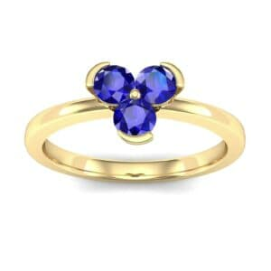 Three-Stone Flower Blue Sapphire Engagement Ring (0.48 Carat)
