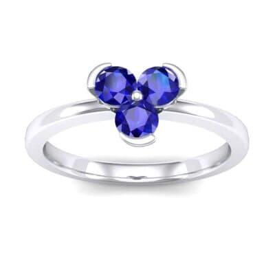 Three-Stone Flower Blue Sapphire Engagement Ring (0.48 Carat)
