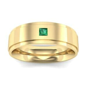 Stepped Edge Single Princess-Cut Emerald Ring (0.1 Carat)