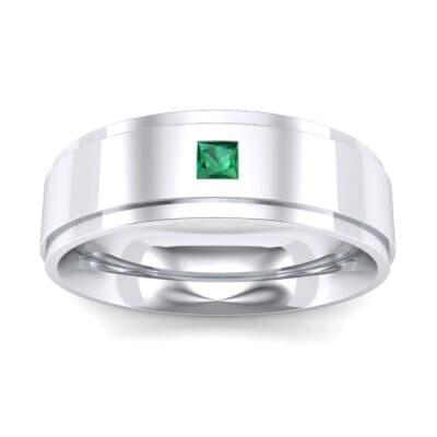 Stepped Edge Single Princess-Cut Emerald Ring (0.1 Carat)
