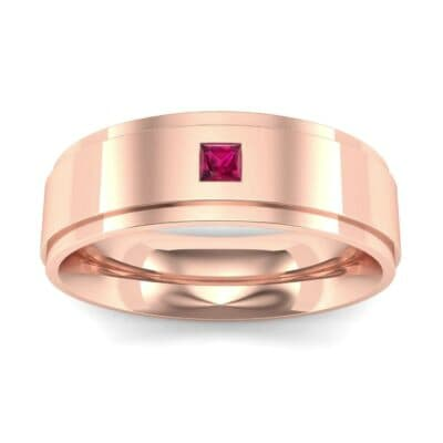 Stepped Edge Single Princess-Cut Ruby Ring (0.1 Carat)