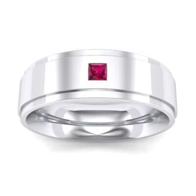 Stepped Edge Single Princess-Cut Ruby Ring (0.1 Carat)