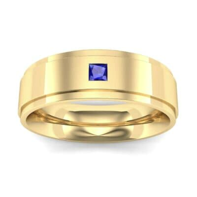 Stepped Edge Single Princess-Cut Blue Sapphire Ring (0.1 Carat)