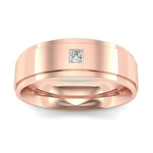 Stepped Edge Single Princess-Cut Diamond Ring (0.08 Carat)